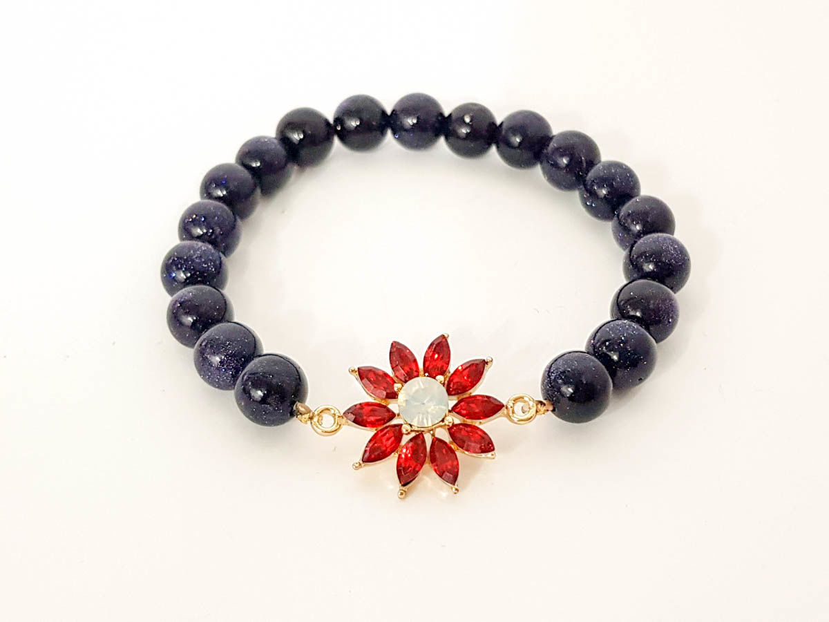 Bluish chrysolite stone and red star bracelet for woman
