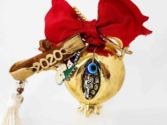 Снимка на New Year Charm 2020 with metallic Pomegranate, Christmas figures and Evil Eye.  Handmade