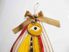 New Year Charm 2020 with Big Evil Eye Ribbons and  Christmas figures.  Handmade.