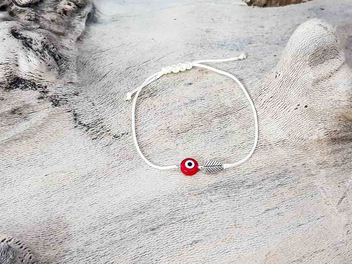 Red Evil Eye Leaf Beige String