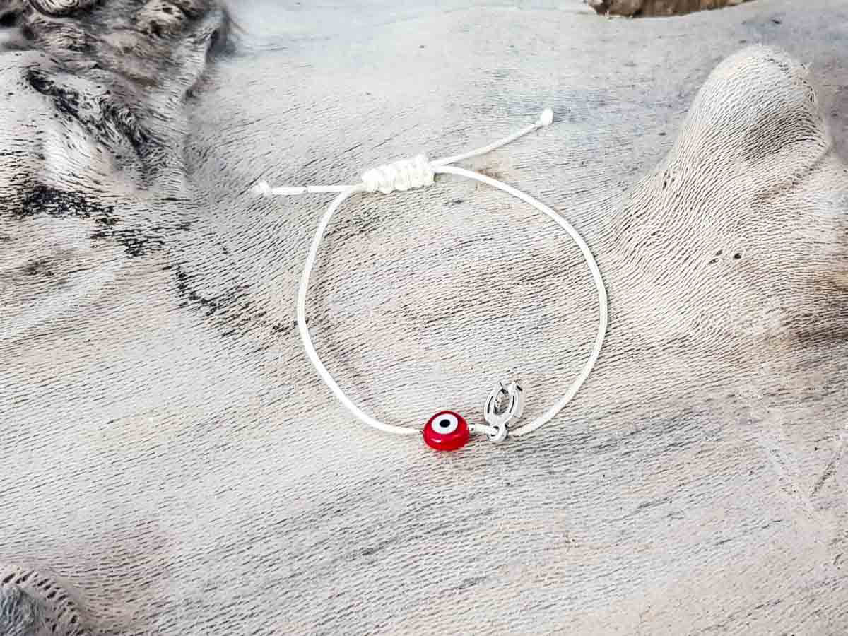 Red Evil Eye Petal Beige String