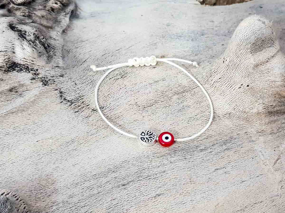 Red Evil Eye Tree Of Life Beige String