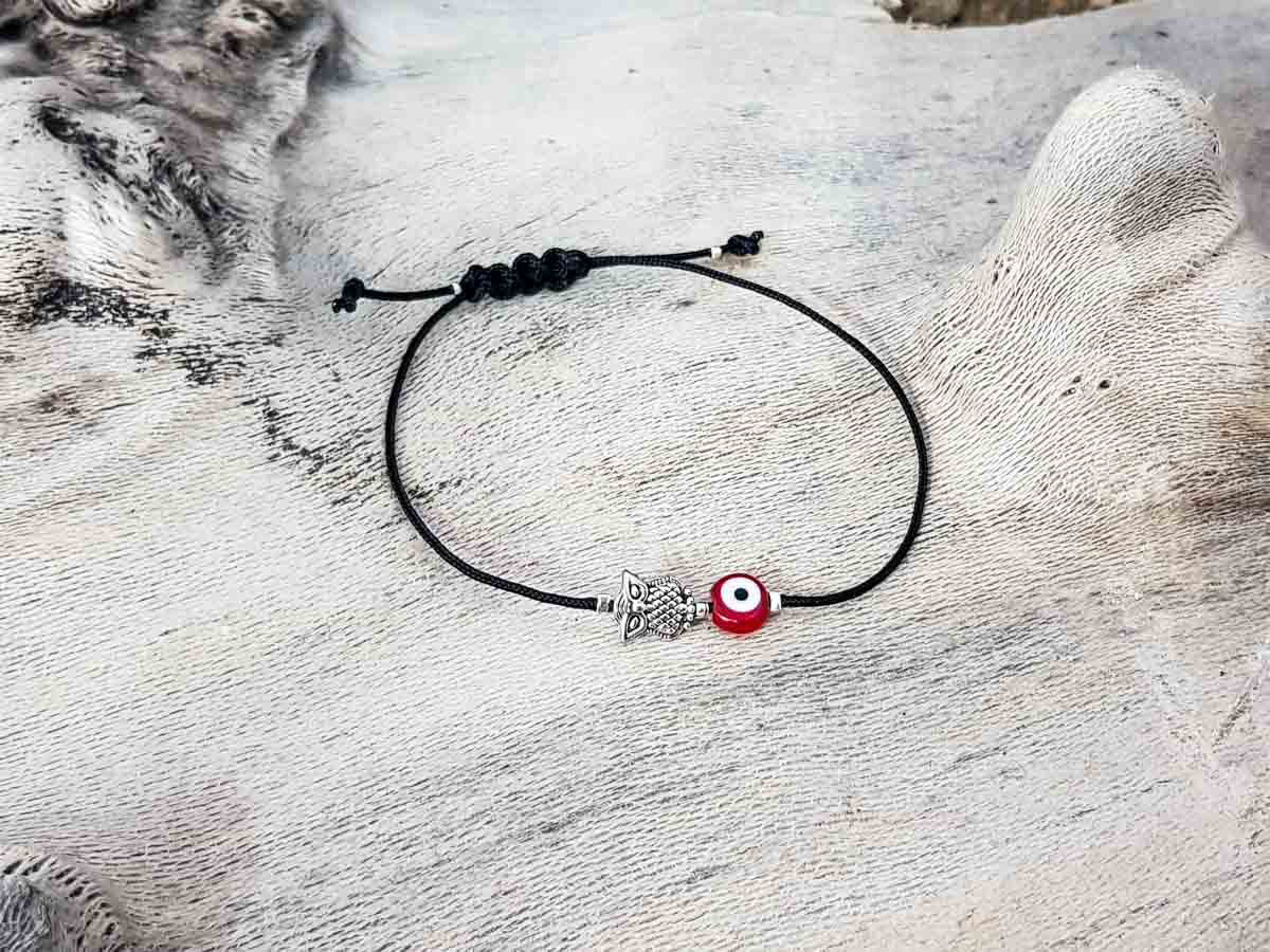 Red Evil Eye Owl Black String