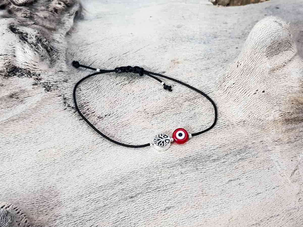 Red Evil Eye Tree of Life Black String