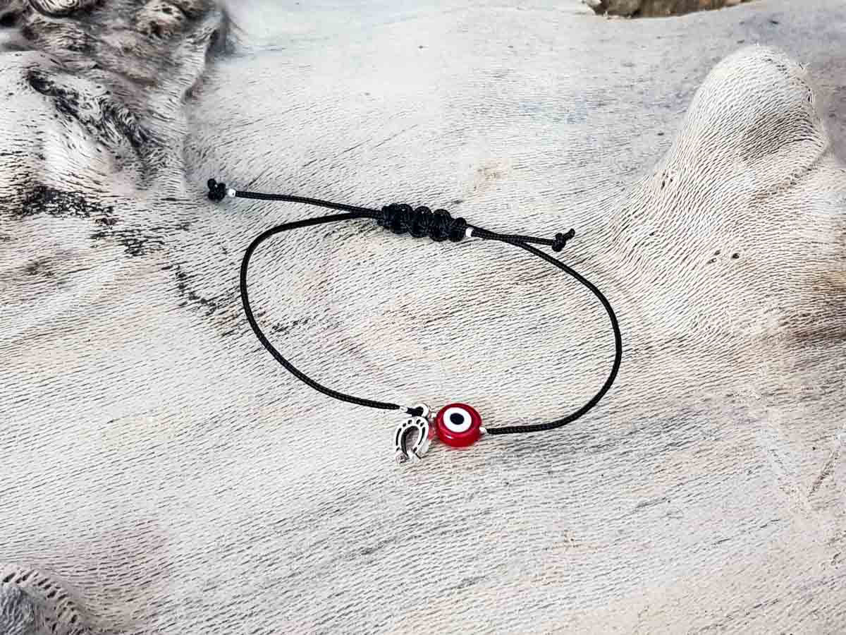 Red Evil Eye Petal Black String