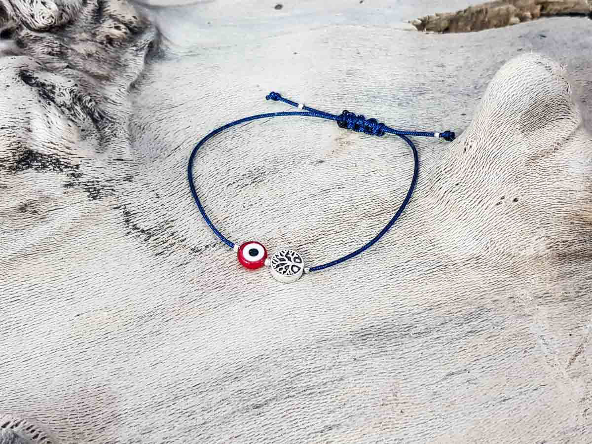 Red Evil Eye Tree Of Life Blue String