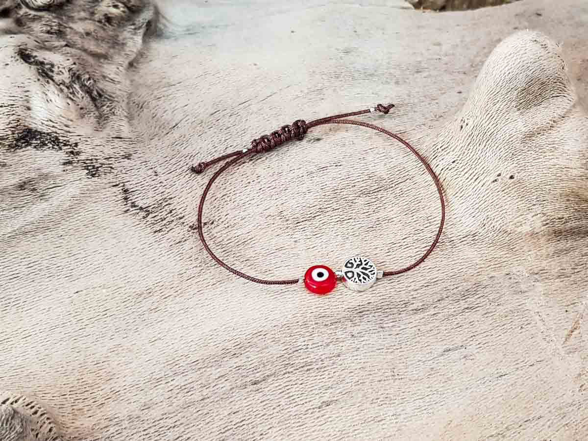 Red Evil Eye Tree Of Life Brown String