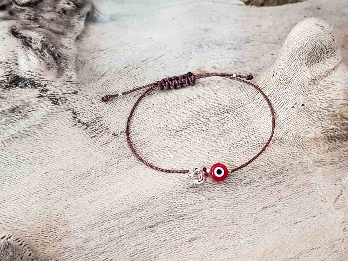 Red Evil Eye Petal Brown String