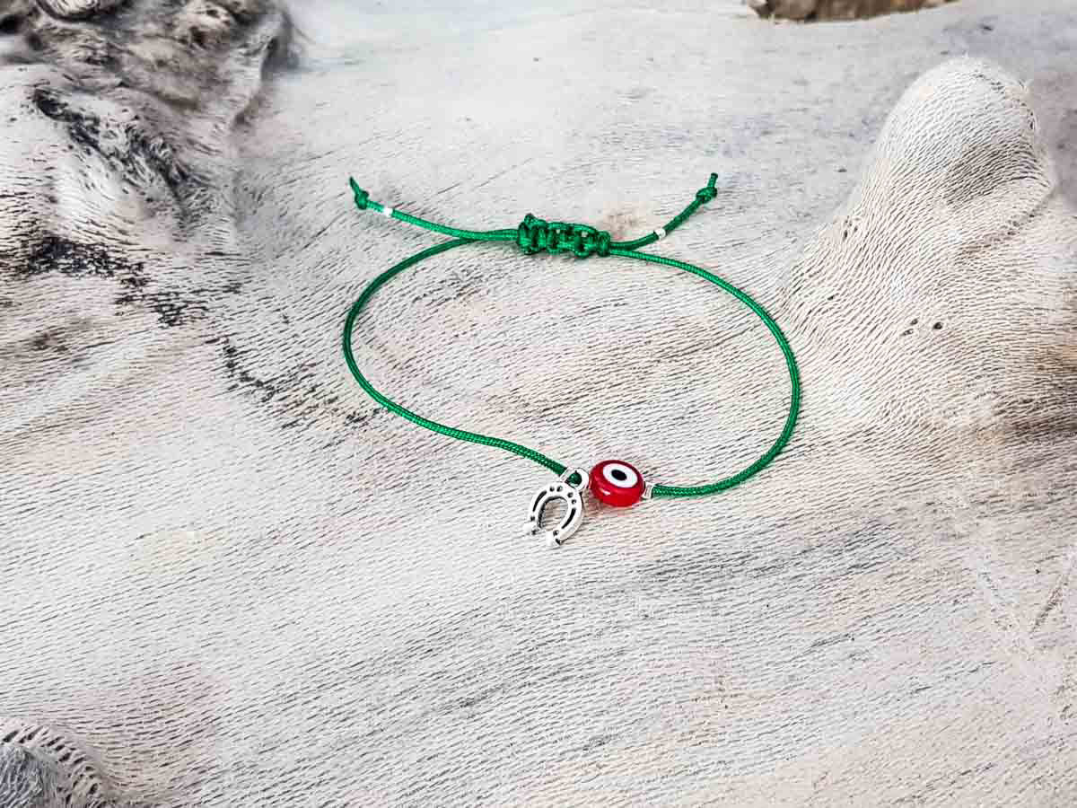Red Evil Eye Petal Green String