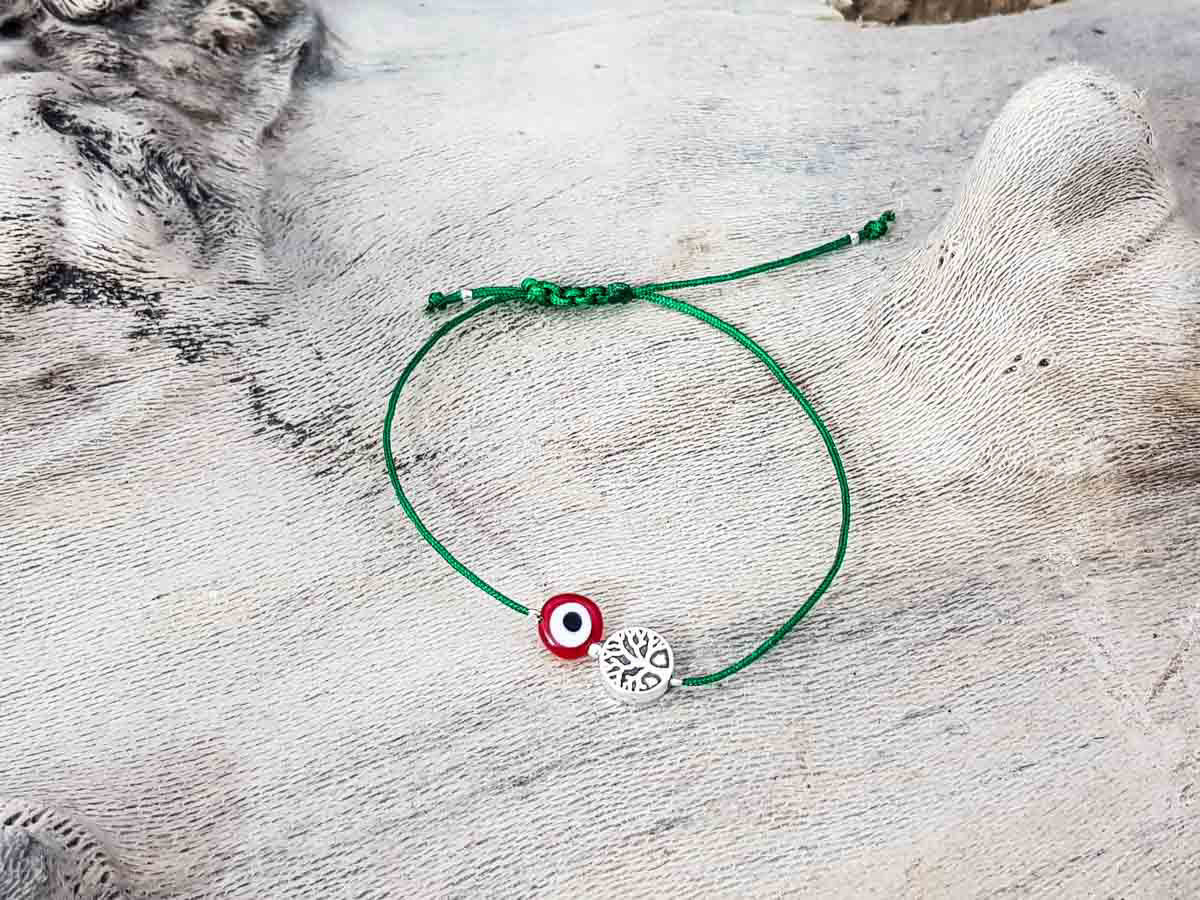 Red Evil Eye Tree of Life Green String