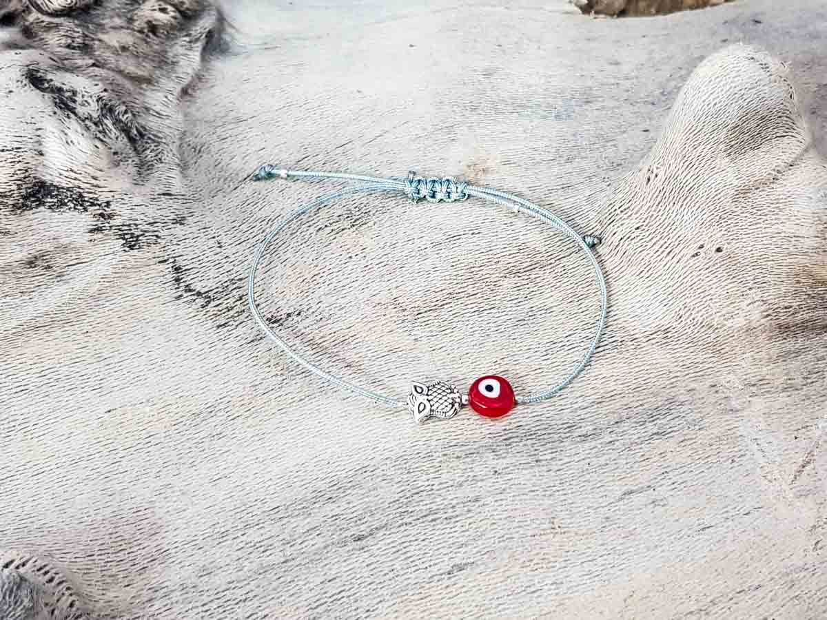 Red Evil Eye Owl Grey String