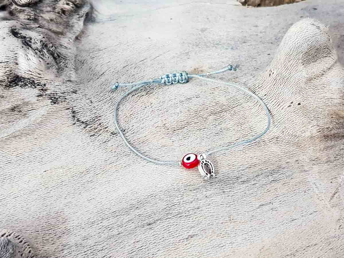 Red Evil Eye Petal Grey String