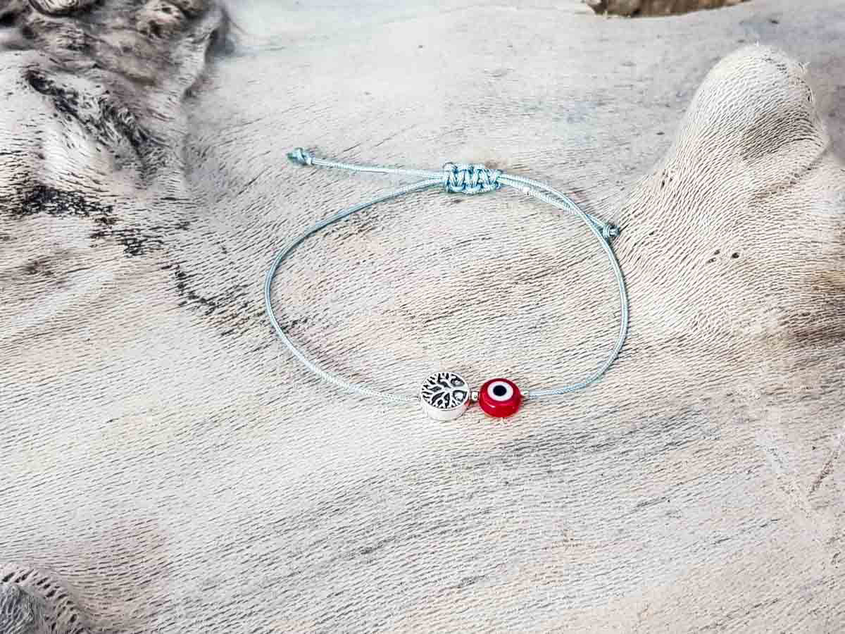 Red Evil Eye Tree Of Life Grey String