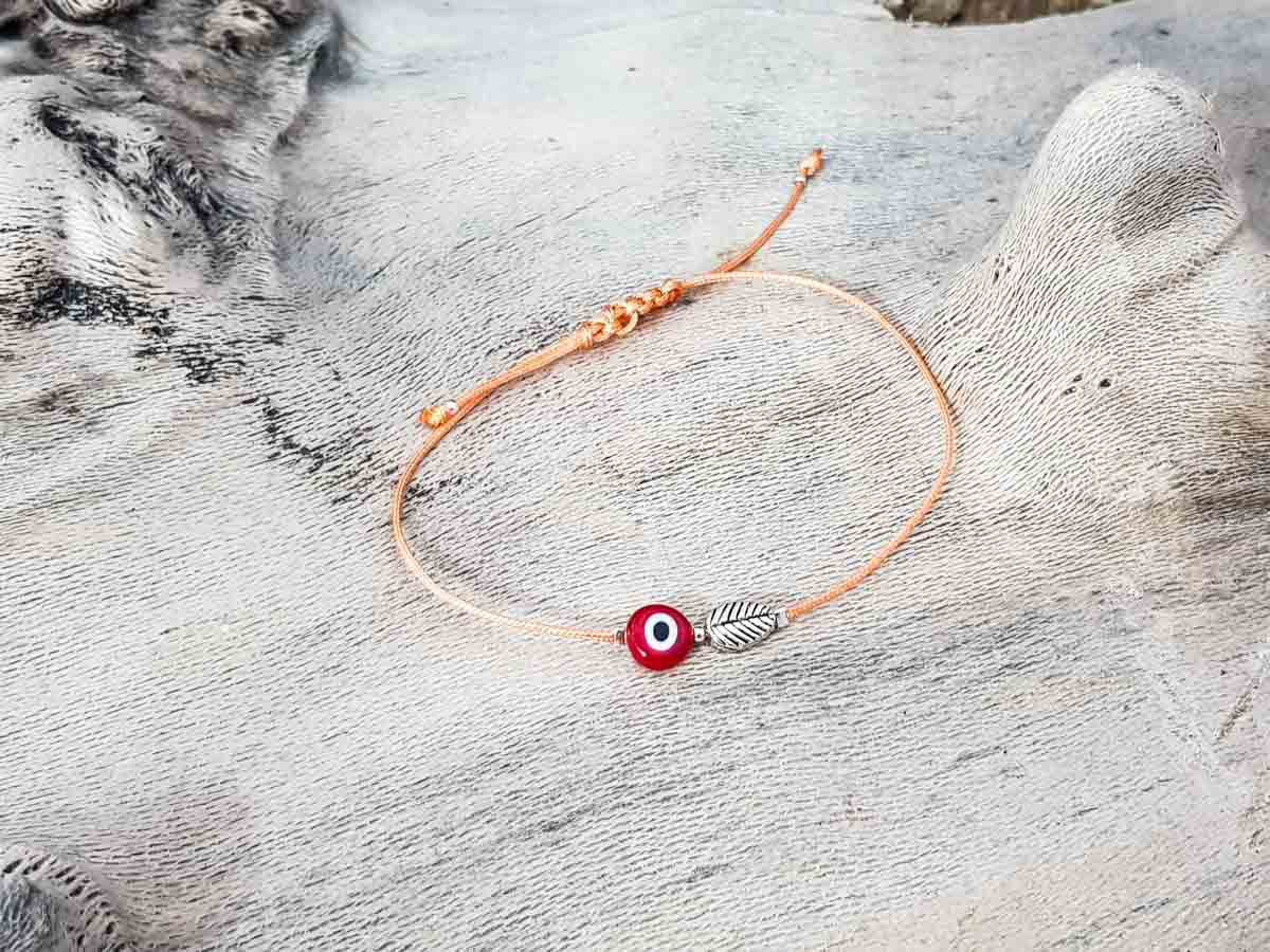 Red Evil Eye Leaf Orange String