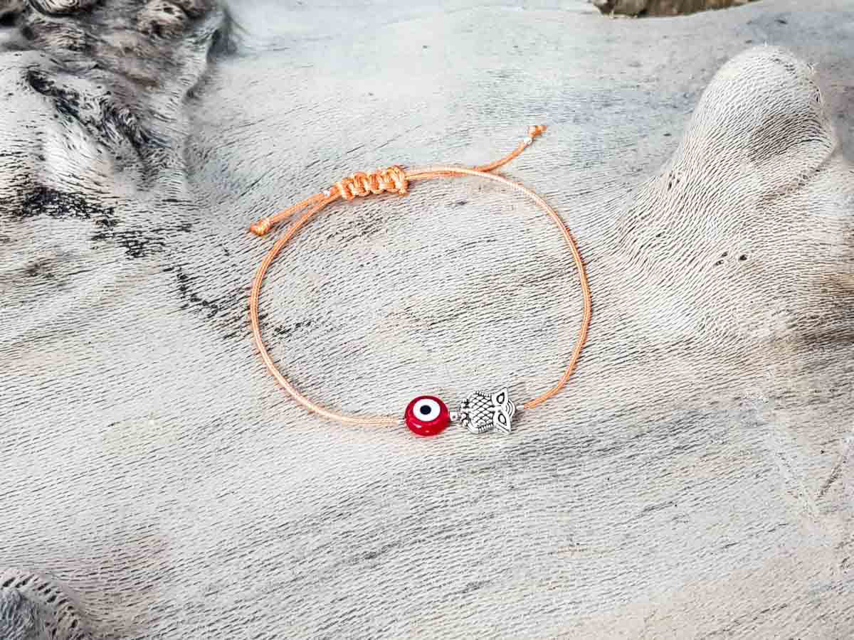 Red Evil Eye Owl Orange String
