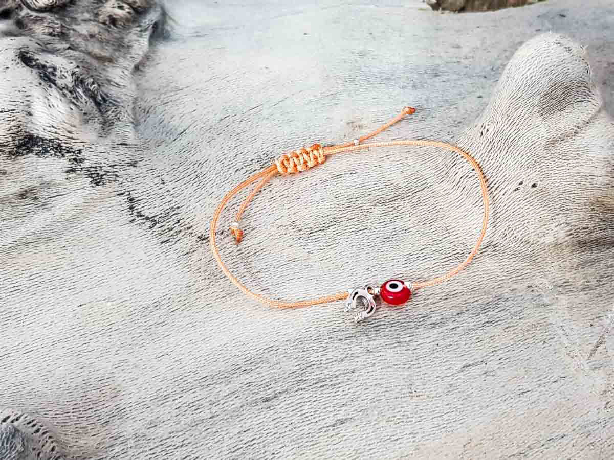 Red Evil Eye Petal Orange String