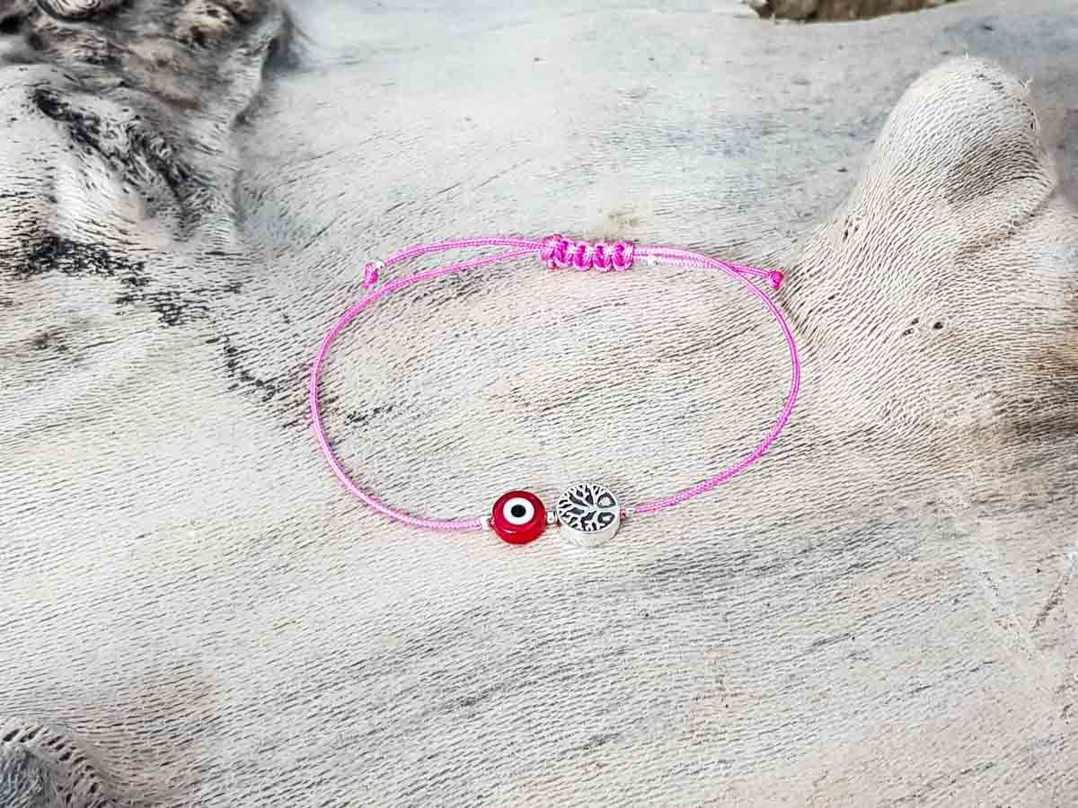 Red Evil Eye Tree Of Life Pink String