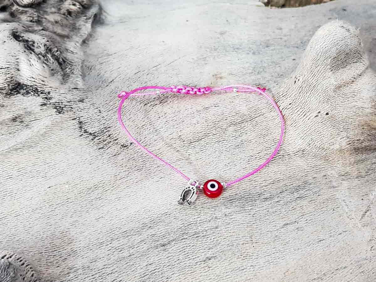 Red Evil Eye Petal Pink String