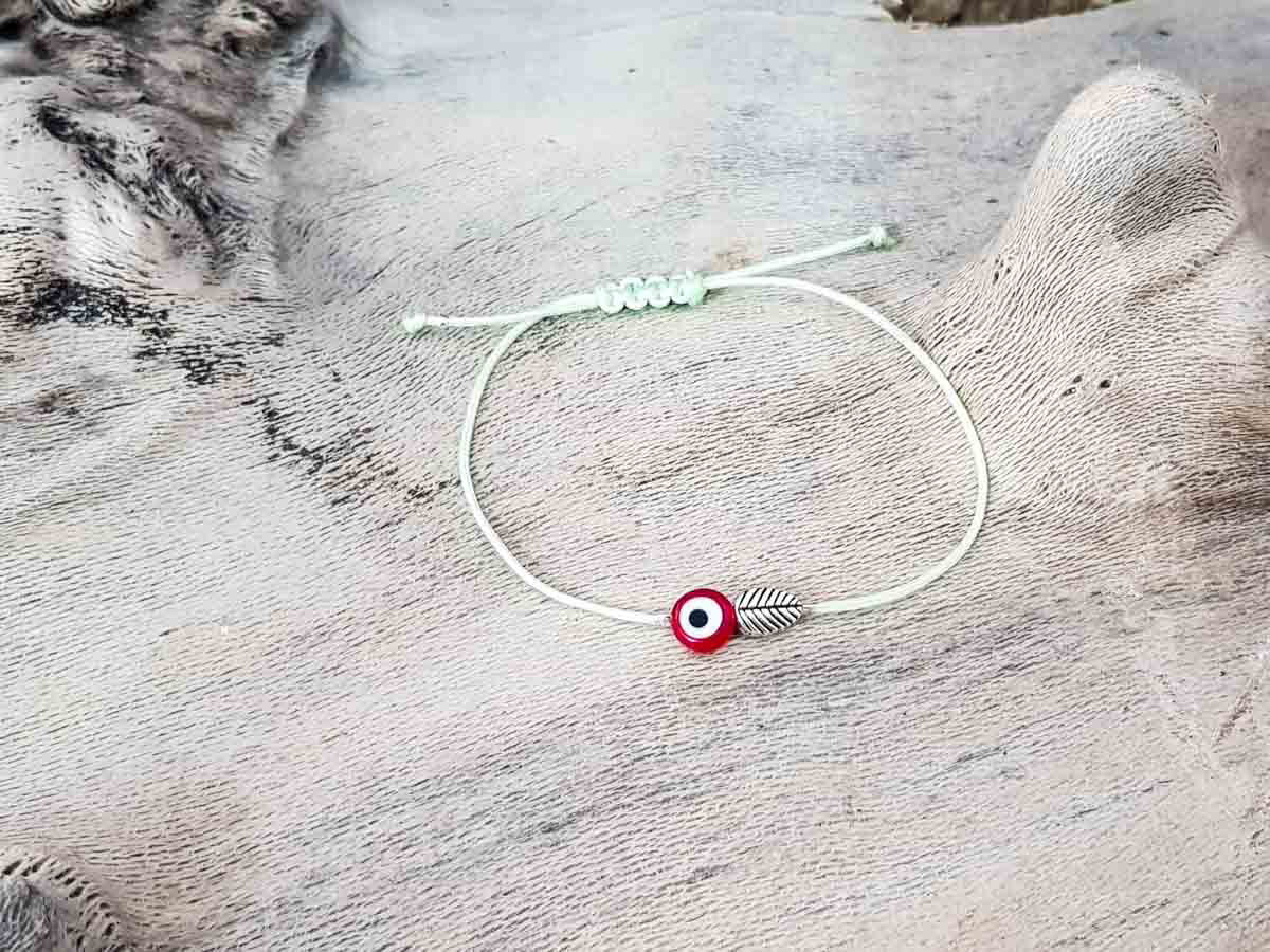 Red Evil Eye Leaf Pixie Green String