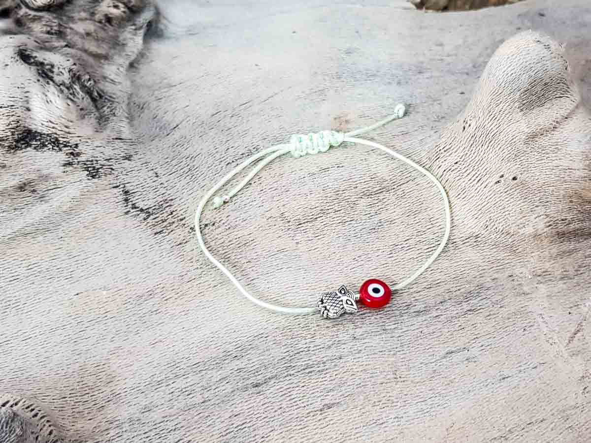 Red Evil Eye Owl Pixie Green String