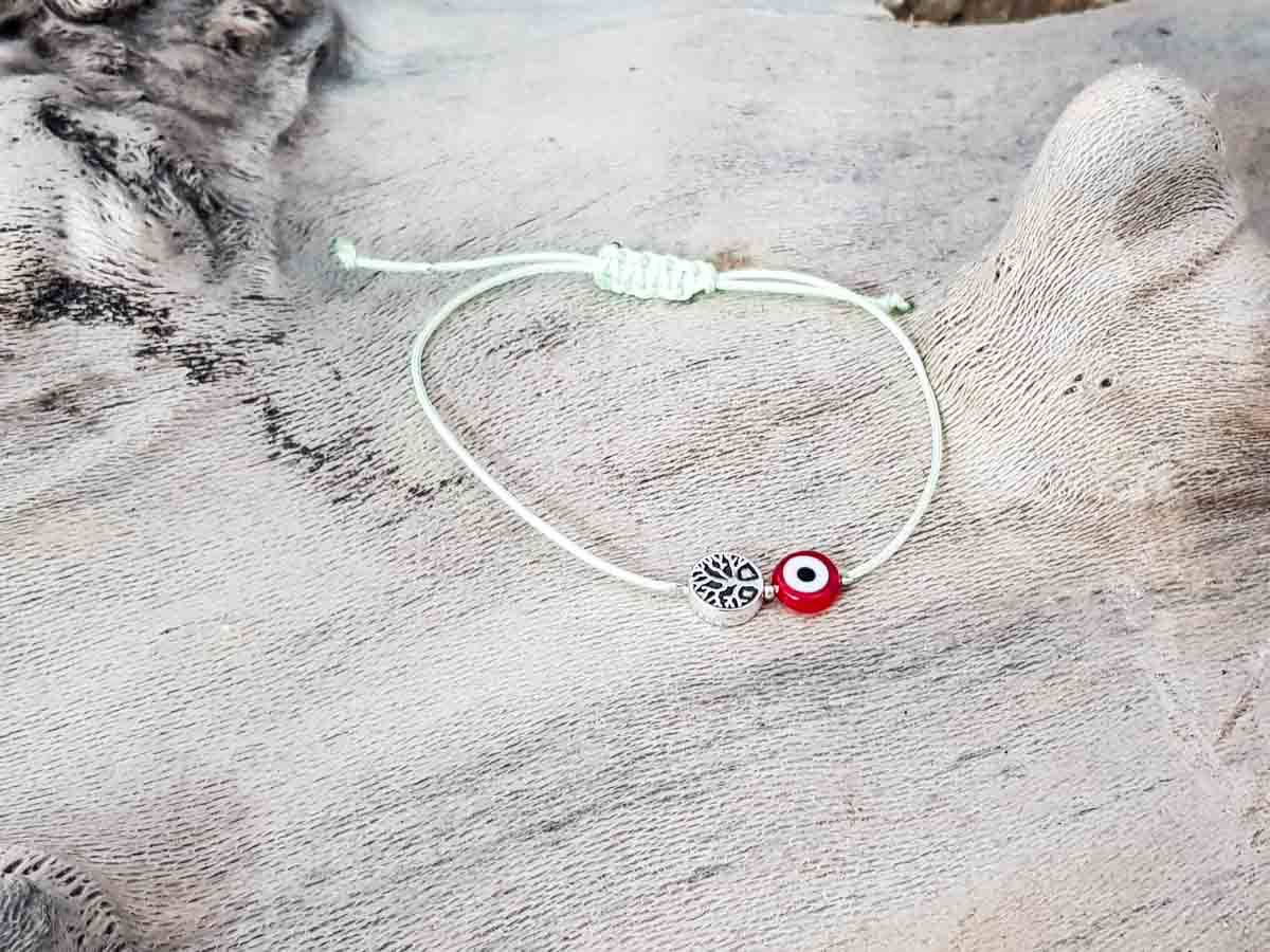 Red Evil Eye Tree Of Life Pixie Green String
