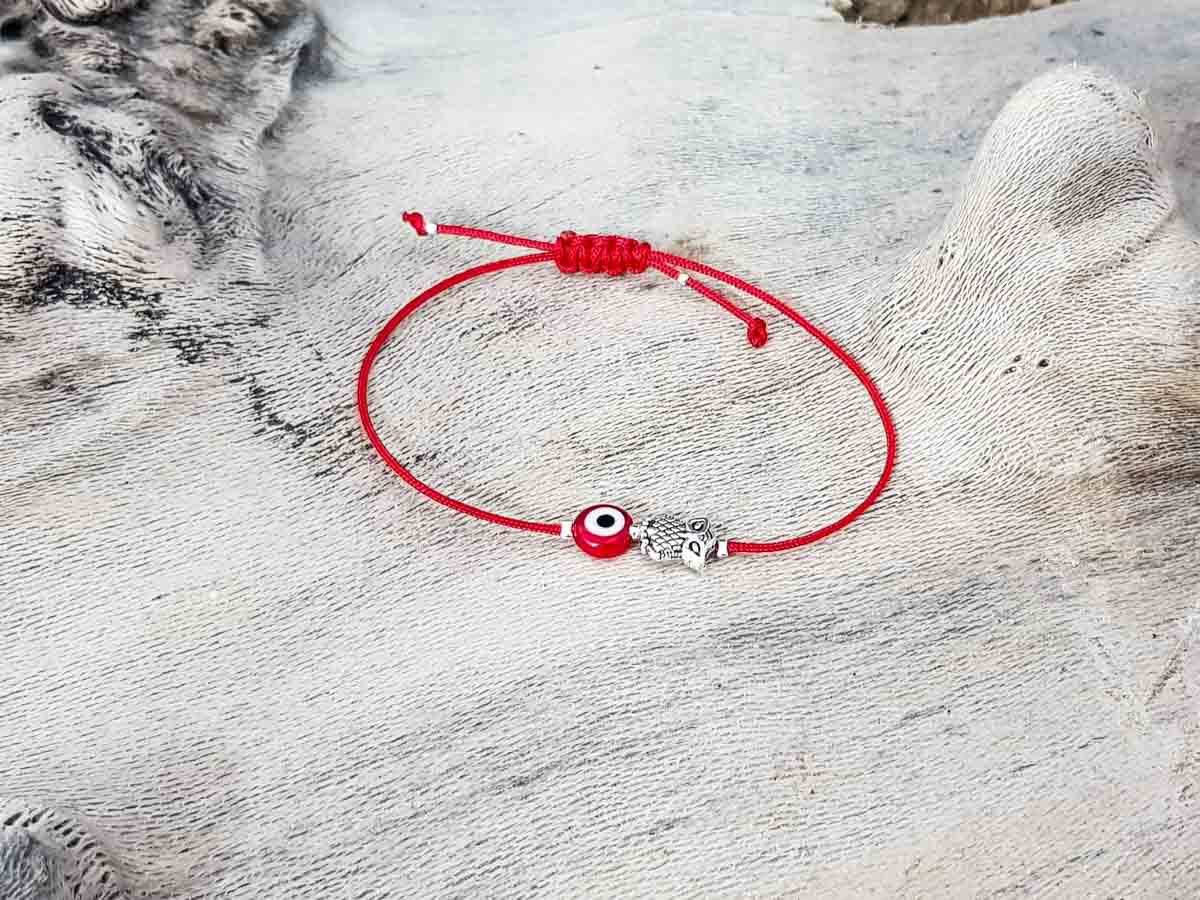 Red Evil Eye Owl Red String