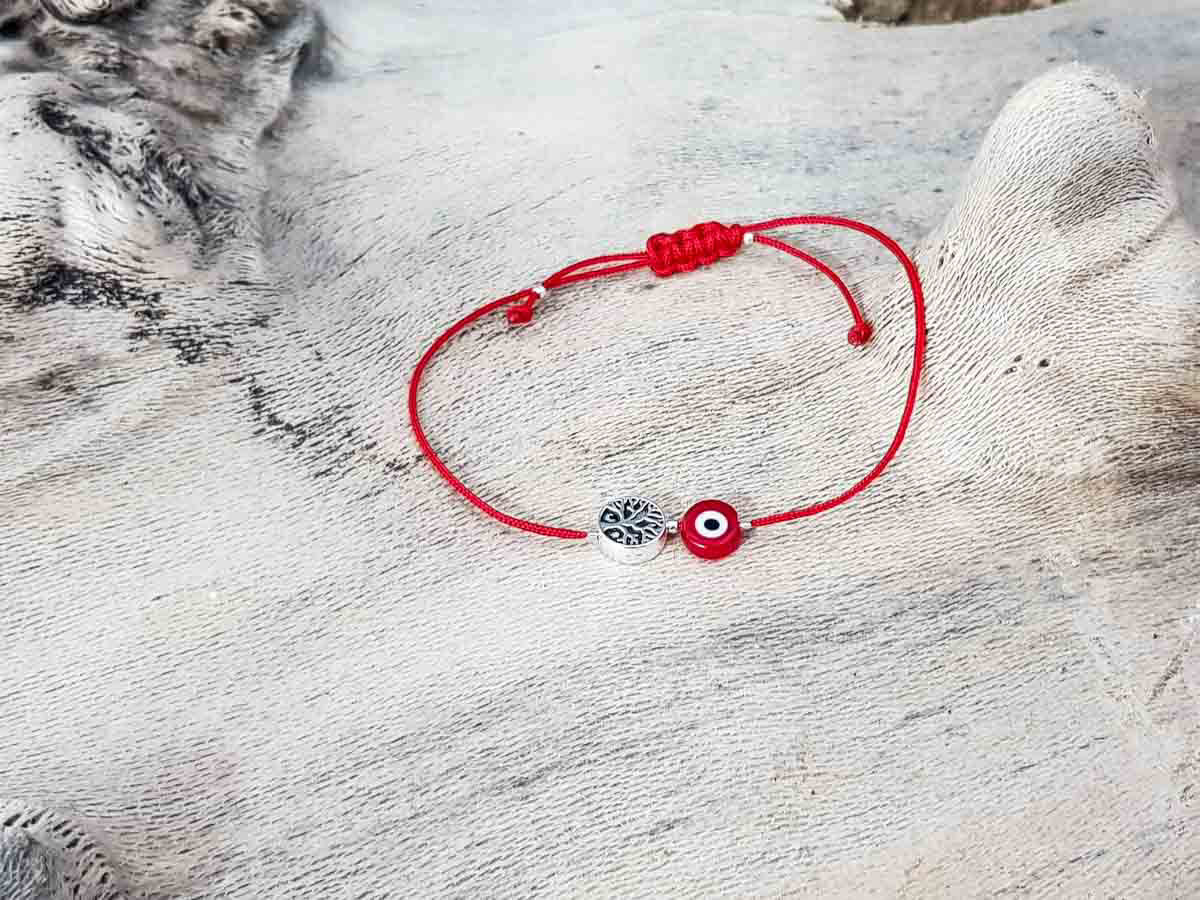 Red Evil Eye Tree Of Life Red String