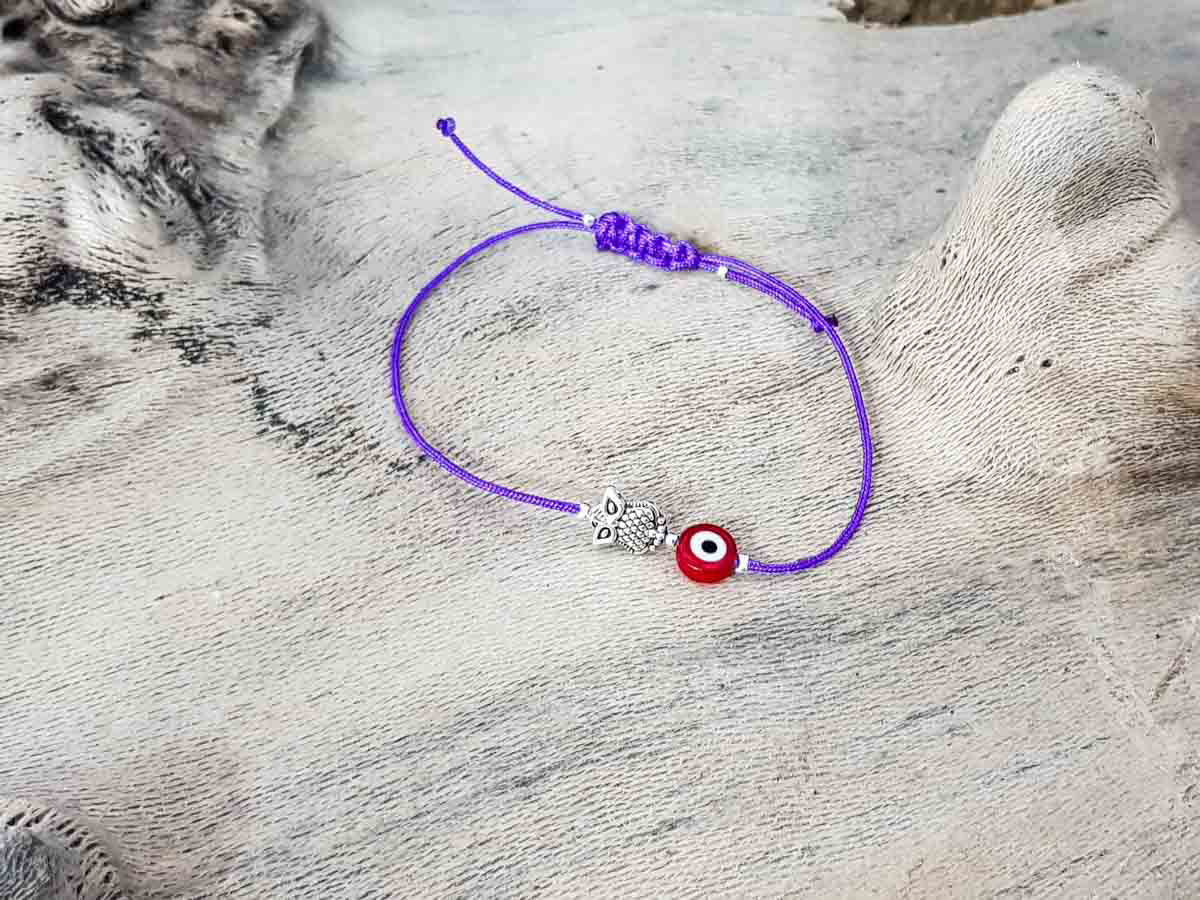 Red Evil Eye Owl Royal Purple String