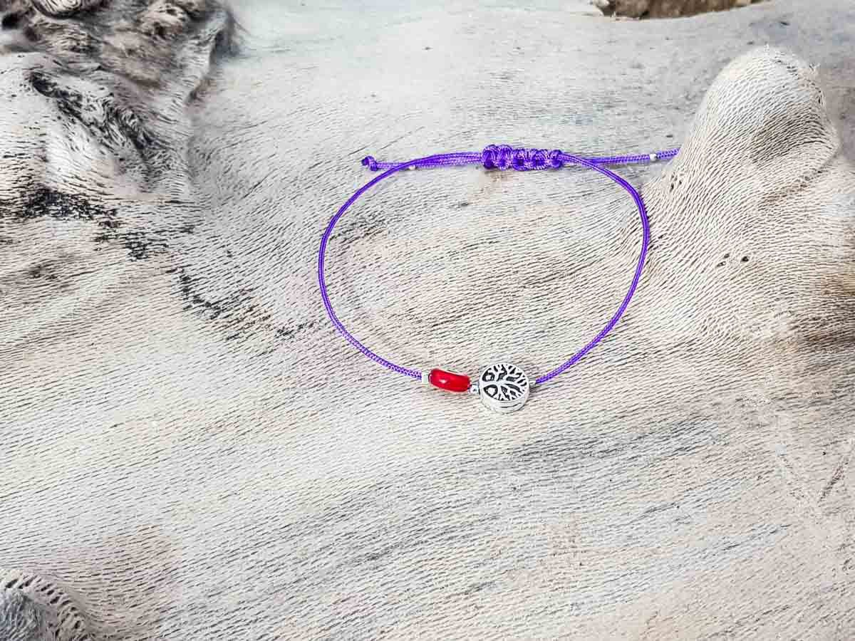 Red Evil Eye Tree Of Life Royal Purple String