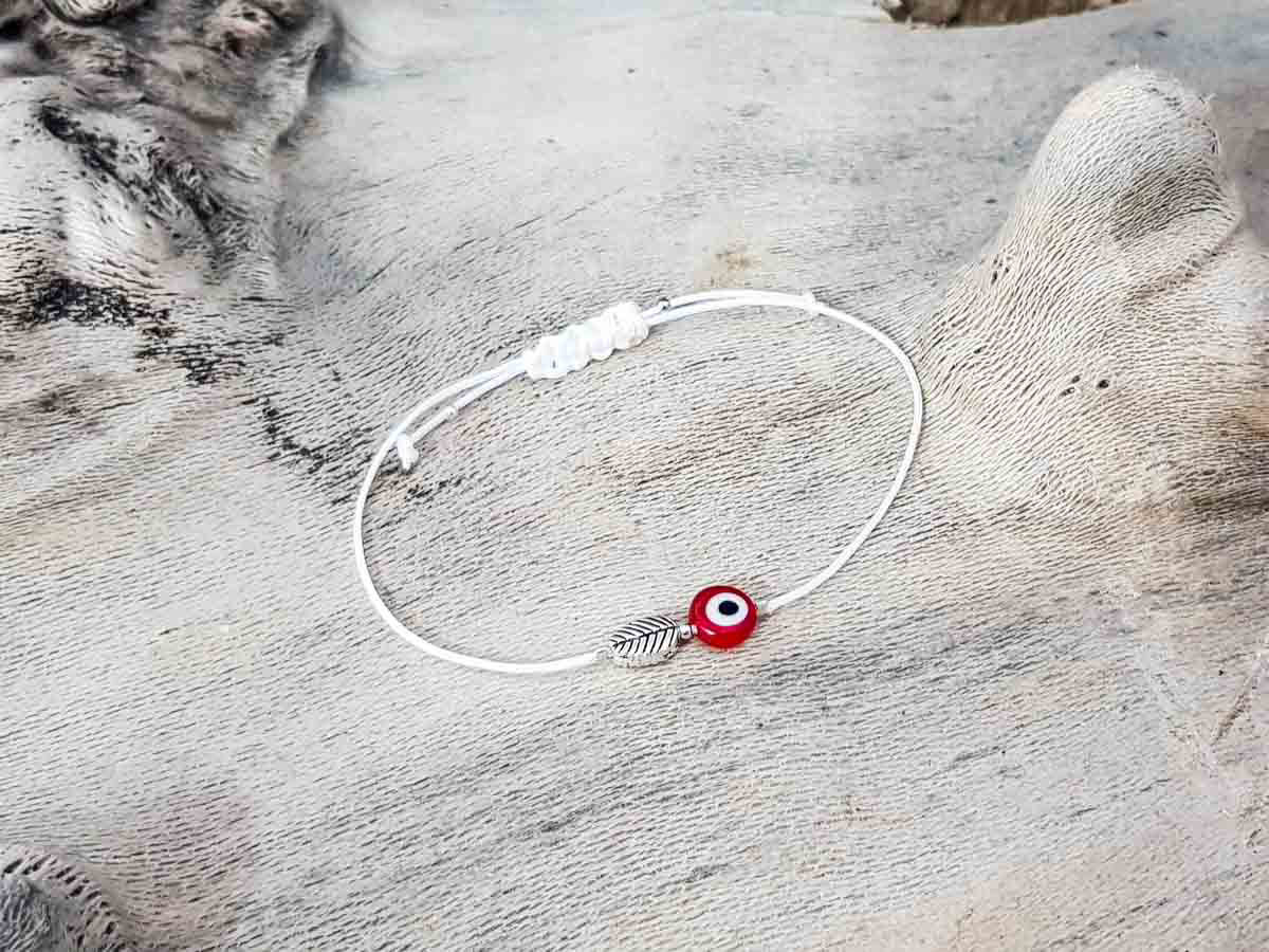 Red Evil Eye Leaf White String