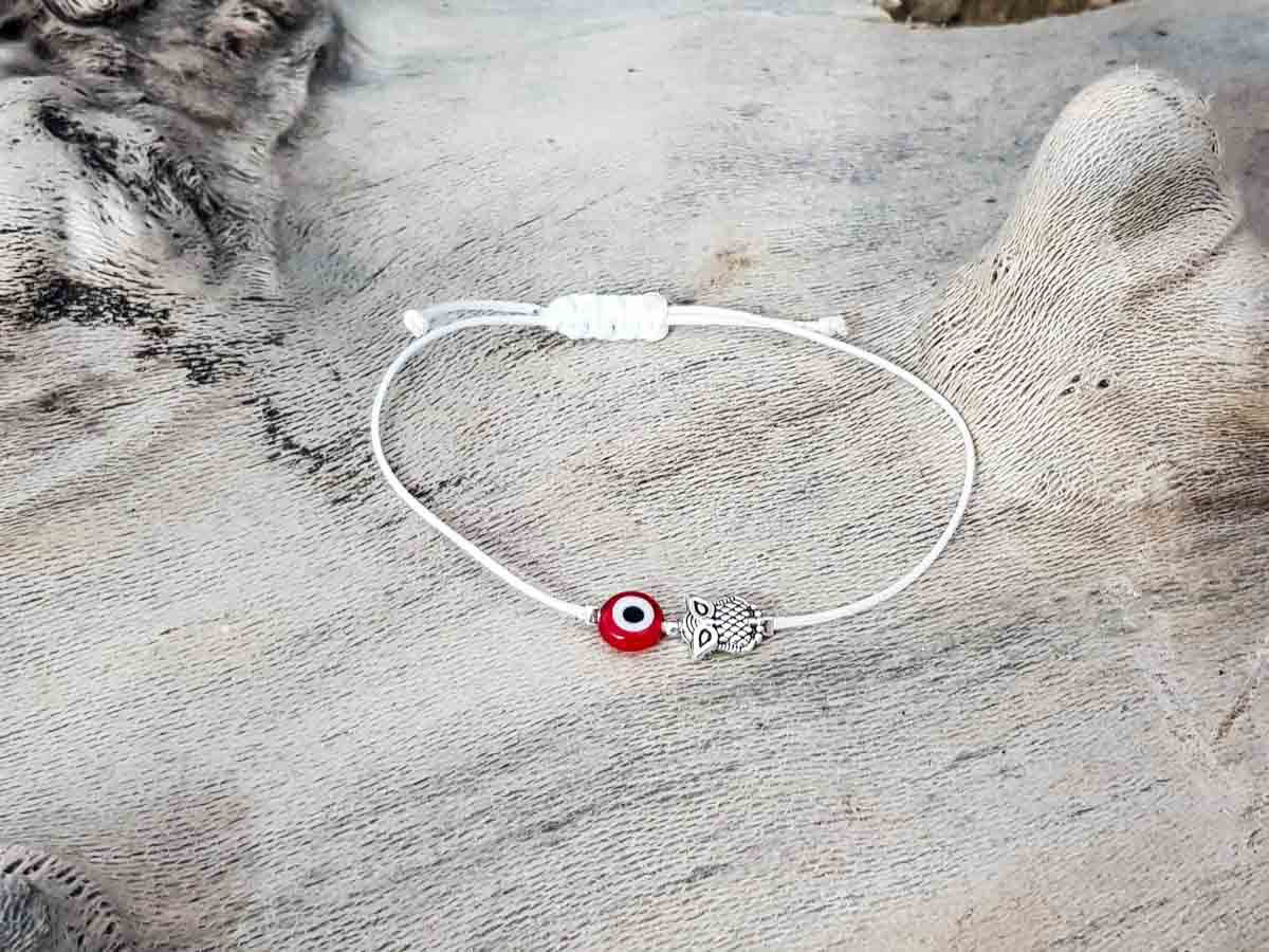 Red Evil Eye Owl White String