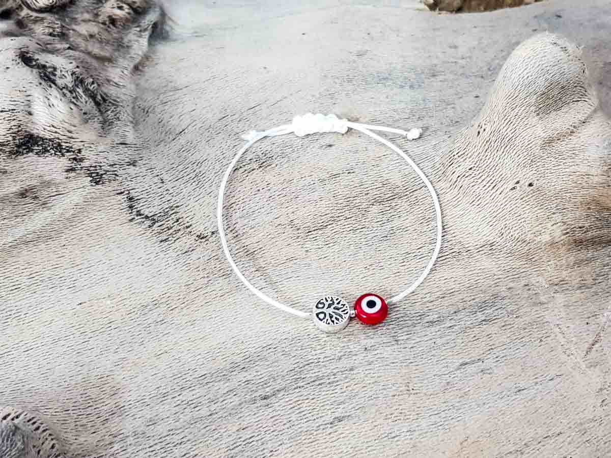 Red Evil Eye Tree Of Life White String