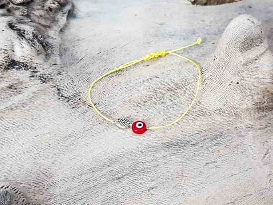 Red Evil Eye Leaf Yellow String