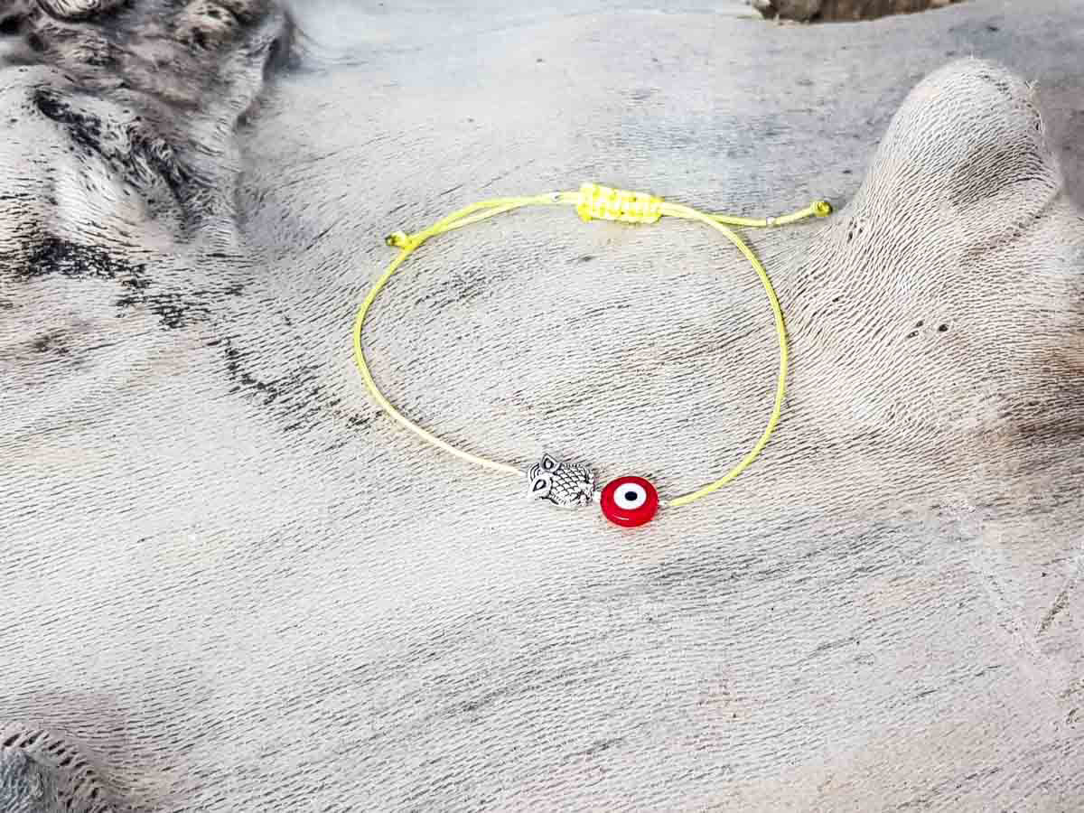 Red Evil Eye Owl Yellow String
