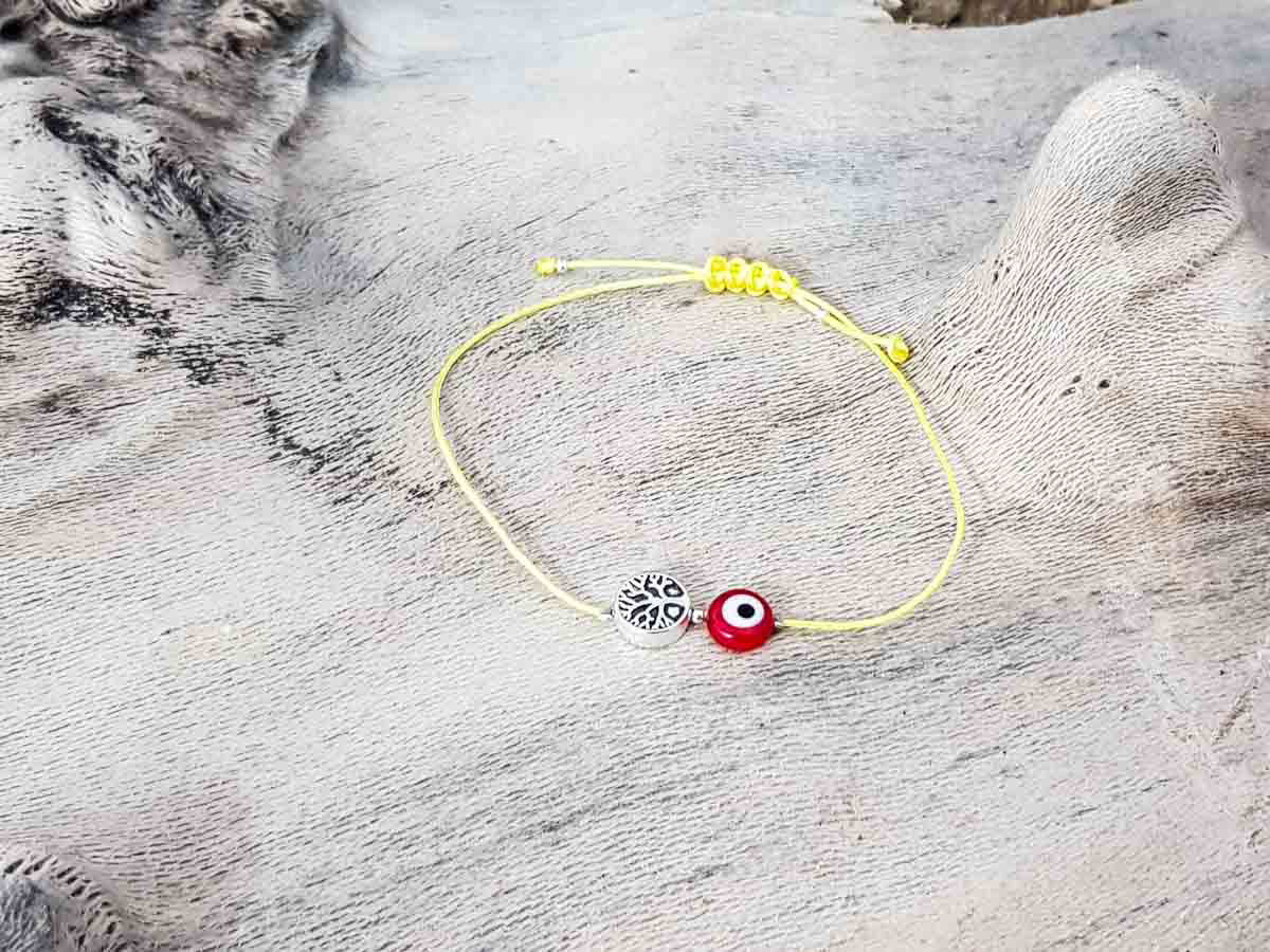 Red Evil Eye Tree Of Life Yellow String