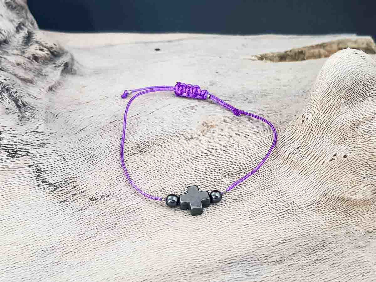 Hematite Cross Bracelet with Purple String