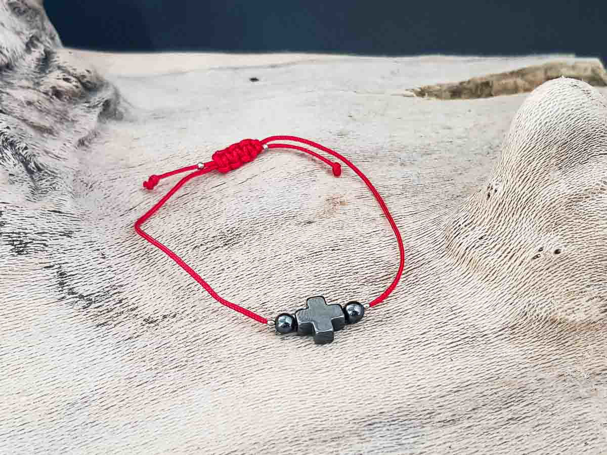 Hematite Cross Bracelet with Red String