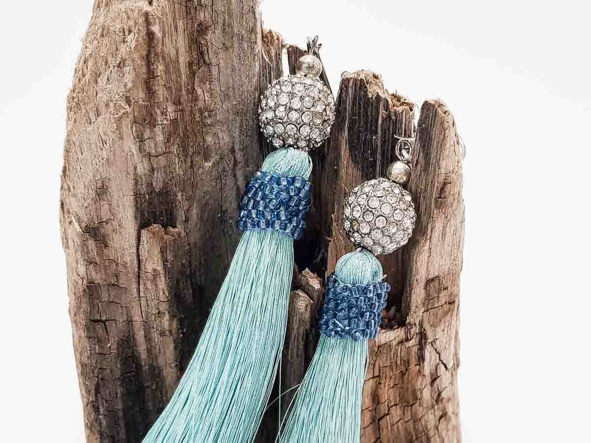 Big Tassel Earrings with metallic Strass ball. Handmade