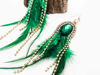 Feather Earrings Green Green