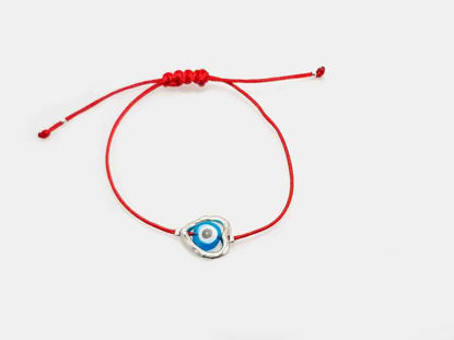 Bracelet Small Light Blue Evil Eye inside Metallic Heart