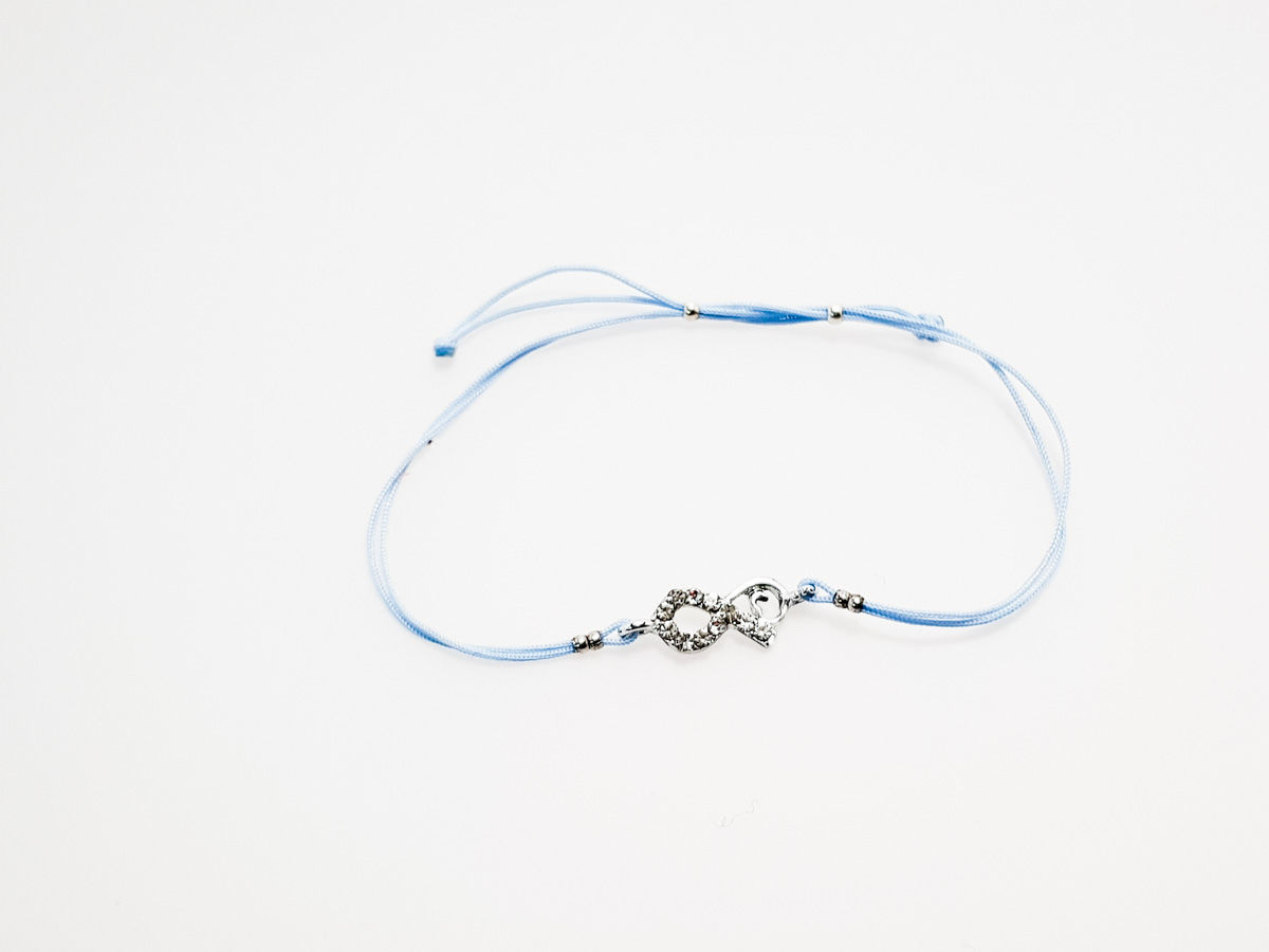 Bracelet with infinity symbol. Various String Colors