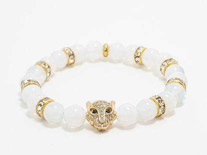 Moonstone with gold cat face