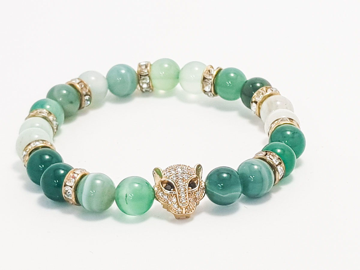 Green agate gold face