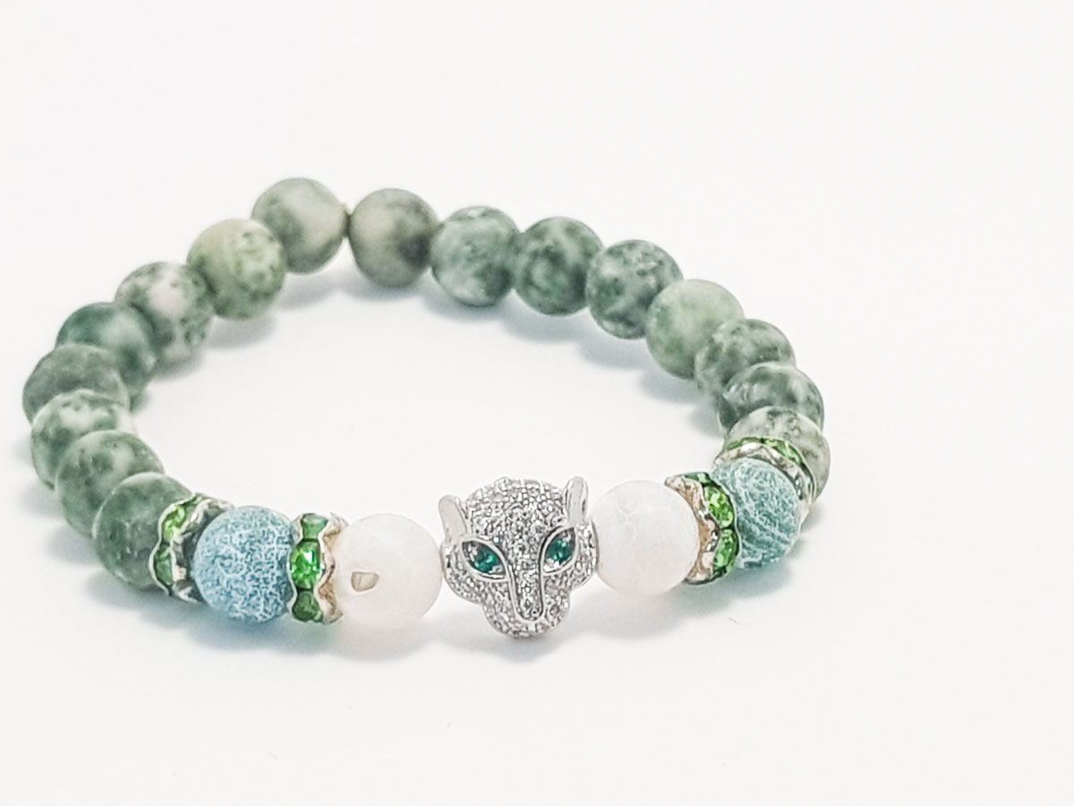 Green marble silver face