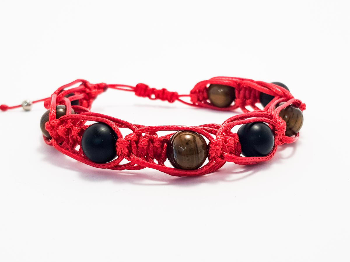 Tiger eye black stone with red string