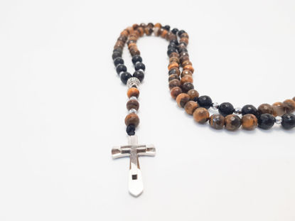 Picture of Men's Necklace with tiger eye and metallic cross
