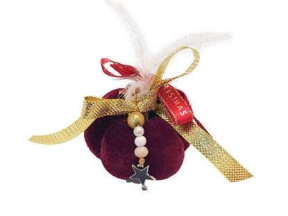 Picture of Christmas pumpkin 7,5 cm in red color with feathers and Decoration Handmade.