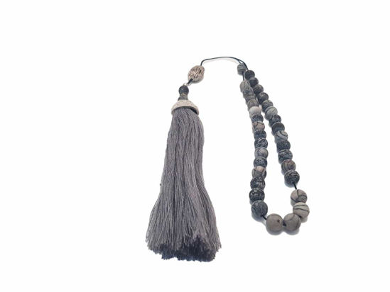 Снимка на Greek Komboloi with semiprecious stones, silver colored metallic elements and big gray tassel. Handmade