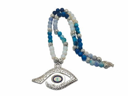 Picture of Necklace Metallic Evil Eye Lava agate moonstone beads . Handmade