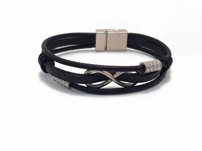 Picture of Dark Brown Leather Bracelet with infinity symbol and magnetic clip in  Boho style Handmade